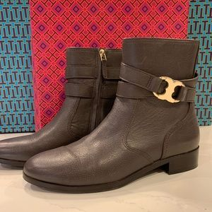 Tory Burch Gemini Link Bootie Coconut Tumbled Leather